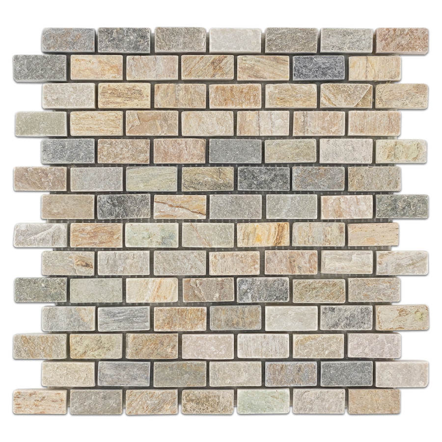"Golden Sand Quartzite 3/4"" x 1 5/8"" Offset Brick Mosaic Tumbled - Elon Tile"