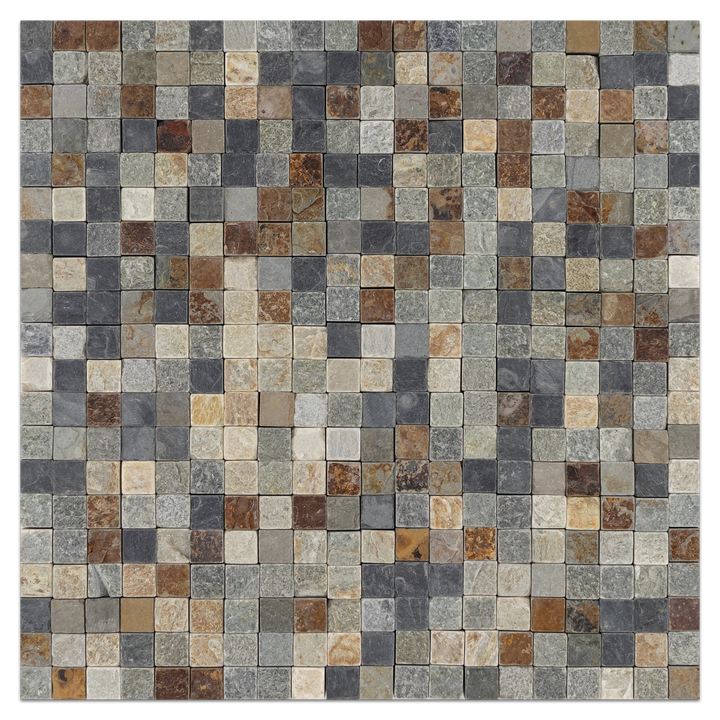 "Checkerboard 5/8"" x 5/8"" Golden Sand/Black/Rustic Slate Tumbled - Elon Tile"