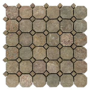 "**LIMITED STOCK** Lotus Multicolor Slate 2"" Octagon Mosaic Tumbled (1 sf) - Elon Tile"