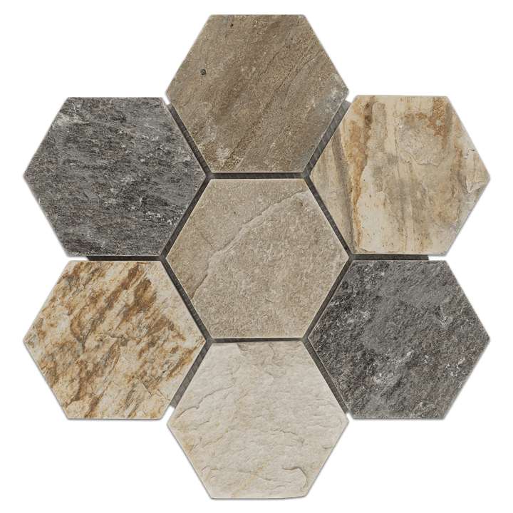 "Golden Sand Quartzite 5"" Hexagon Mosaic Cleft - Elon Tile"