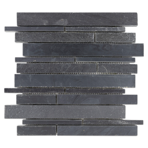 Midnight Random Strip Mosaic Cleft & Honed (0.96 sf) - Elon Tile
