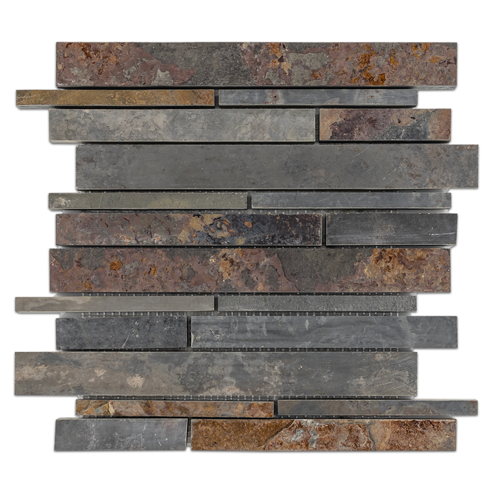 Rustic Multicolor Slate Random Strip Mosaic Cleft & Honed - Elon Tile