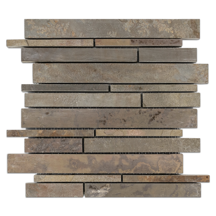 **LIMITED STOCK** Lotus Multicolor Slate Random Strip Mosaic Cleft & Honed