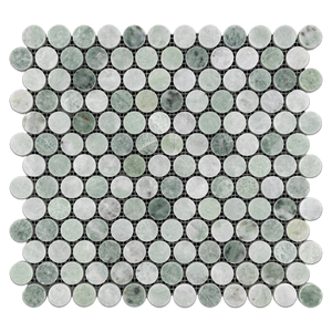 "Ming Green 1"" Rounds Mosaic Polished - Elon Tile"