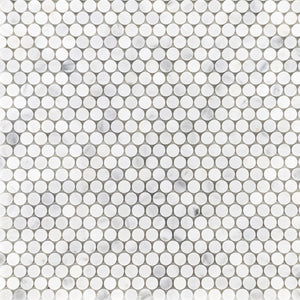 "Pearl White 1"" Rounds Mosaic Honed - Elon Tile"