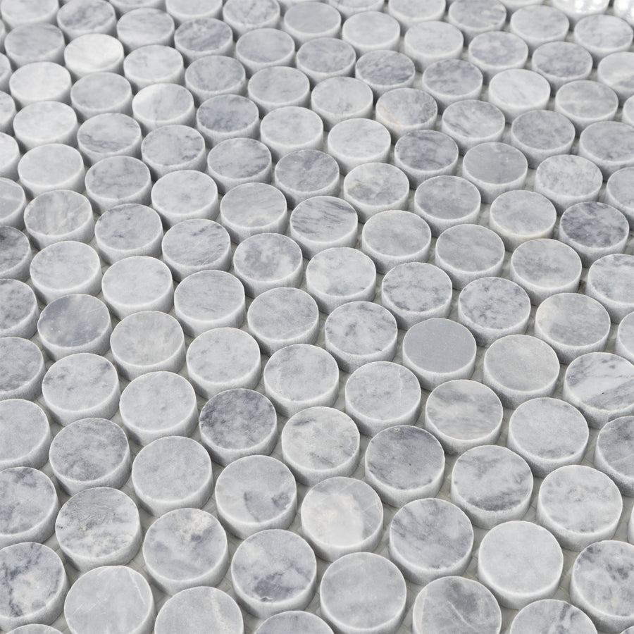 "Pacific Gray 1"" Rounds Mosaic Polished - Elon Tile"