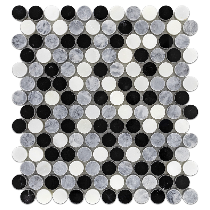 "Pearl White 1"" Rounds Tri-Blend (Pearl White/Pacific Gray/Black) Mosaic Polished - Elon Tile"