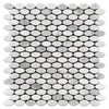 Pearl White Oval Mosaic Polished (0.98 sf)