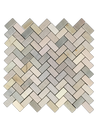 "Golden Sand Quartzite 3/4"" x 1 5/8"" Herringbone Honed Mosaic (0.98 sf) - Elon Tile"