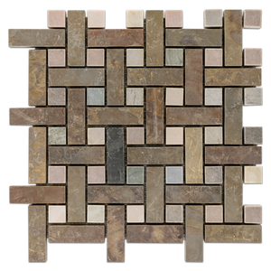 Lotus Multicolor Slate Basketweave with Golden Sand Dot Honed Mosaic (1 sf) - Elon Tile