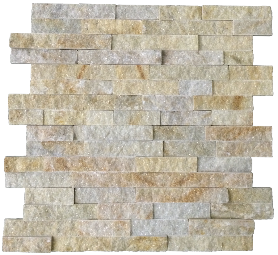 "**DISCONTINUED** Gold Quartzite 6"" x 24"" Interlocking Ledgerstone Cleft (Packed @ 6) - Elon Tile"