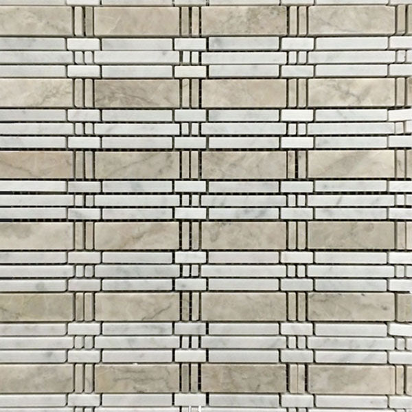 **LIMITED STOCK** Temple Grey with Carrara Bamboo Mosaic Polished - Elon Tile