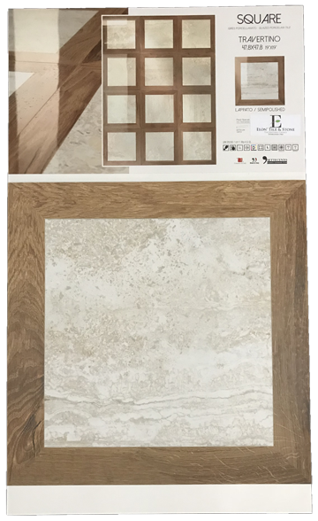 "Travertine 19"" x 19"" Semi Polished Square Porcelain Board - Elon Tile"