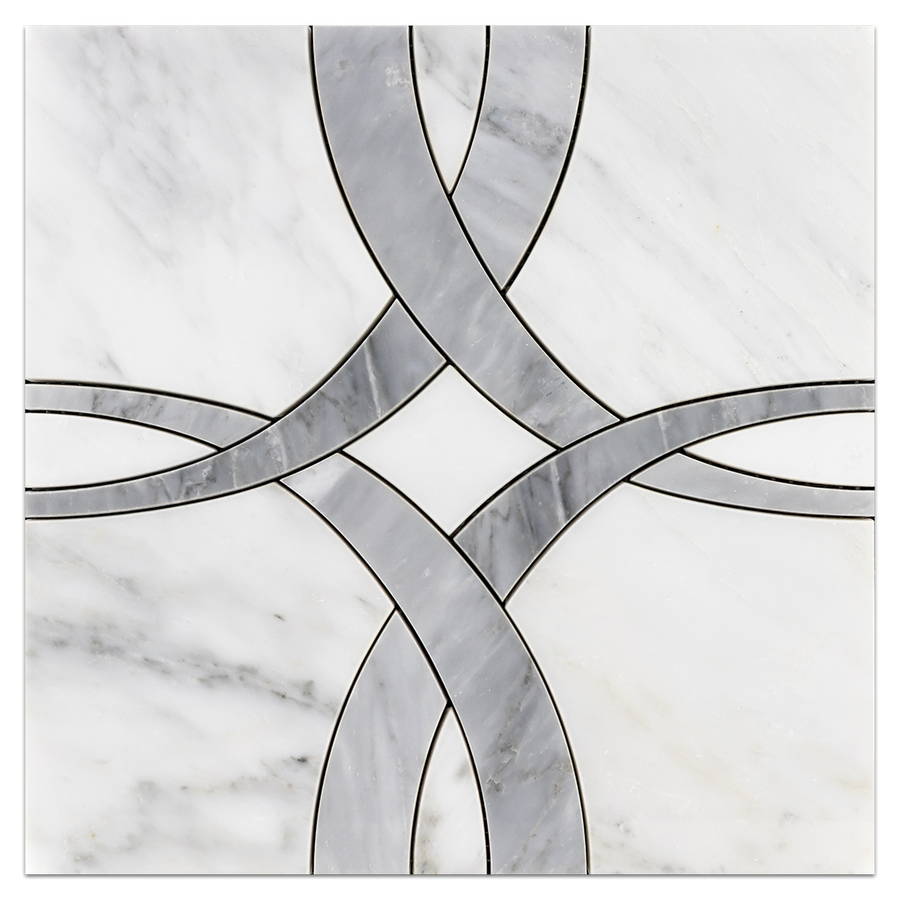 Pearl White Ribbon with Mystic Gray Waterjet Polished - Elon Tile