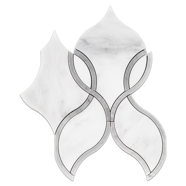 Pearl White Tulip with Mystic Gray Waterjet Polished - Elon Tile