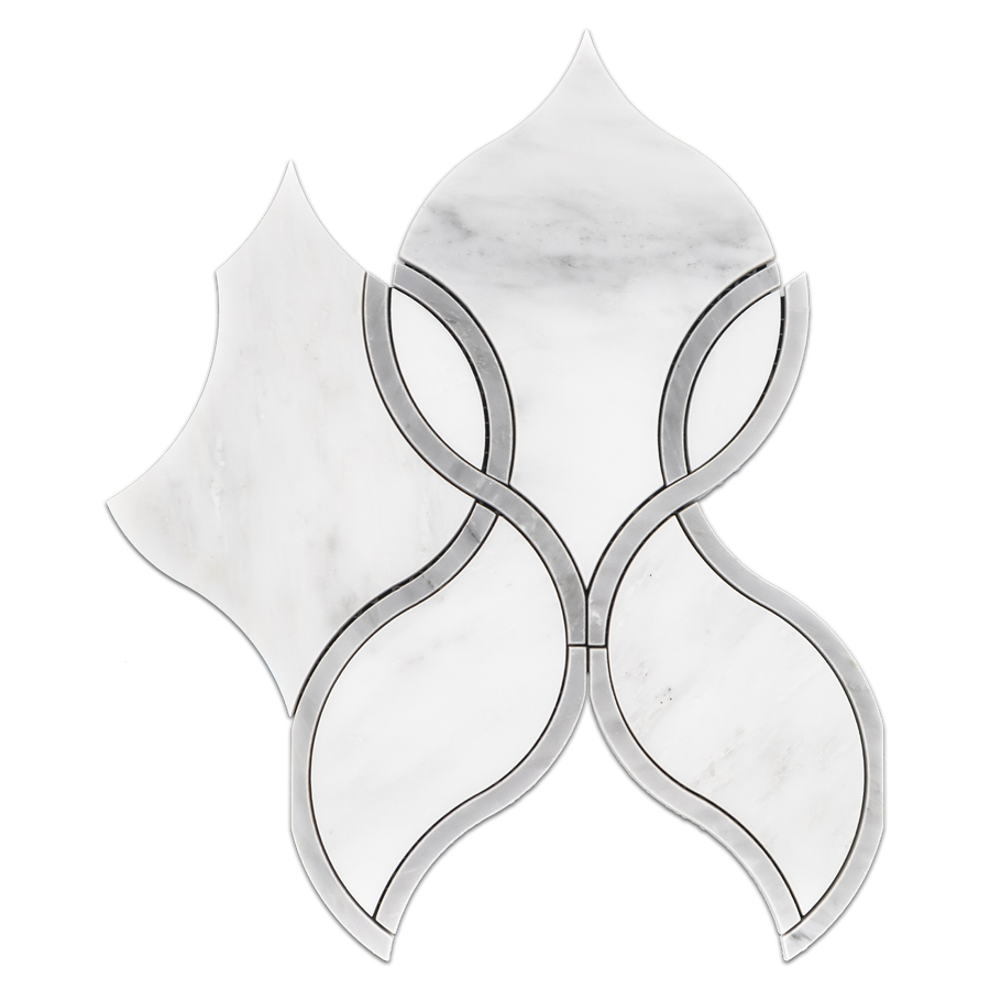 Pearl White Tulip with Mystic Gray Waterjet Polished (0.49 sf) - Elon Tile