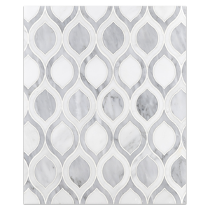 Waterjet Board Collection - WJB103 - Pearl White Raindrop with Mystic Grey Waterjet Polished Board