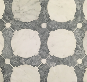 **LIMITED STOCK** Pearl White Orbit with Pacific Gray Waterjet Polished (1.30 sf) - Elon Tile
