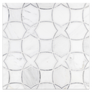 Waterjet Board Collection - WJB117- Pearl White with Mystic Gray Isola Waterjet Honed - Elon Tile