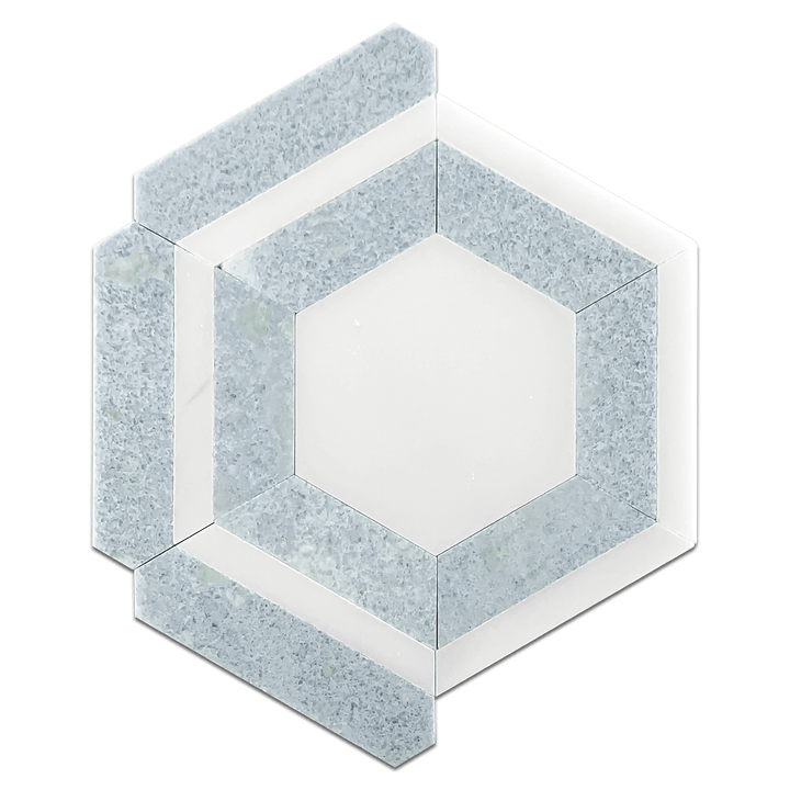 White Absolute Honeycomb with Blue Celeste Mosaic Honed - Elon Tile