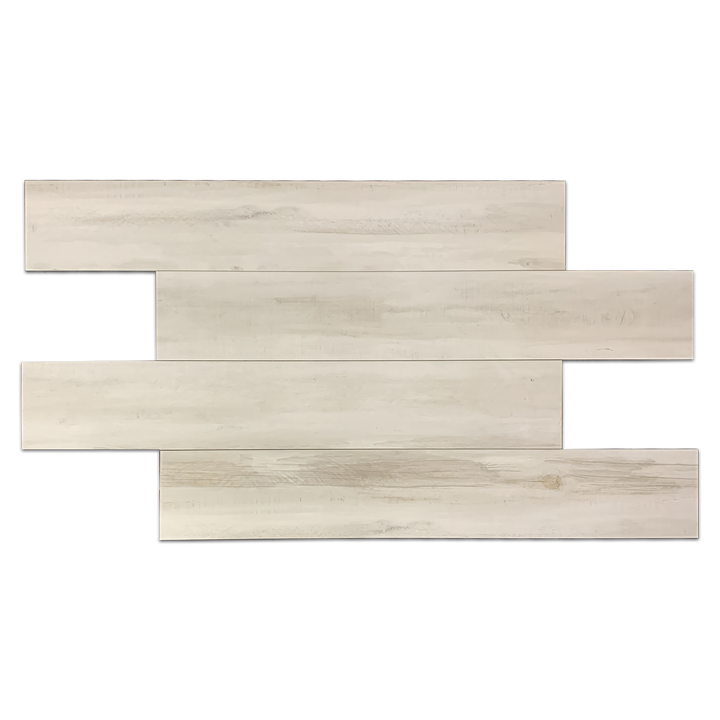 "**LIMITED STOCK** White 8"" x 48"" Wood Porcelain - Elon Tile"