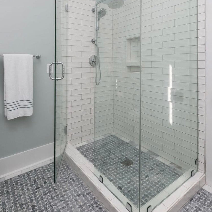 Pacific Gray Basketweave with White Absolute Dot Mosaic Honed - Elon Tile