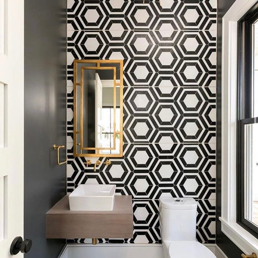 White Absolute Honeycomb with China Black Mosaic Honed