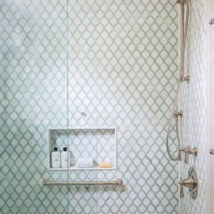 White Absolute with Ming Green Bar Argyle Mosaic Polished