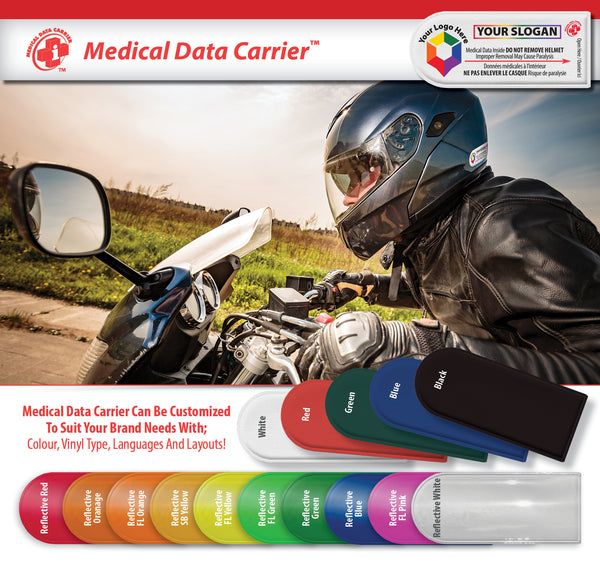 Universal High Visibility Medical Data Carrier for Helmets * Hard Hats * Backpacks * Car Seats * Strollers  and more!