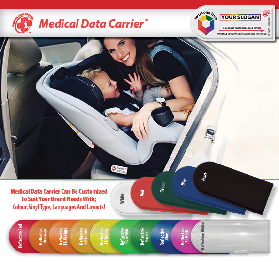 Universal Medical Data Carrier for Helmets * Backpacks *  Car Seats * Strollers * and more!