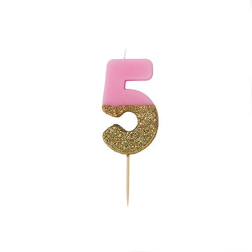 Pink Glitter Dipped Candle - Number 5