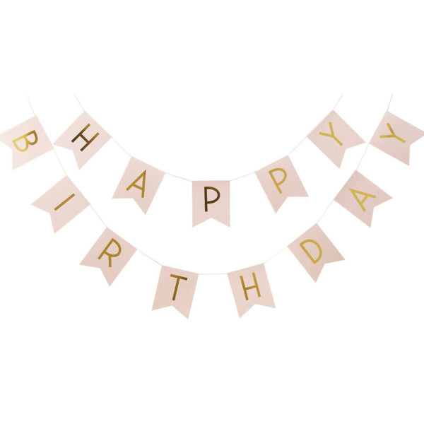 Pink And Gold Foiled Happy Birthday Bunting
