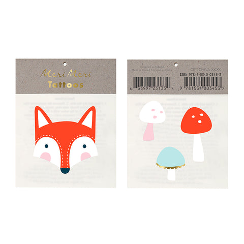 Fox and Mushroom Temporary Tattoos