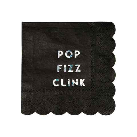 Black Holographic Pop Fizz Clink Small Napkins