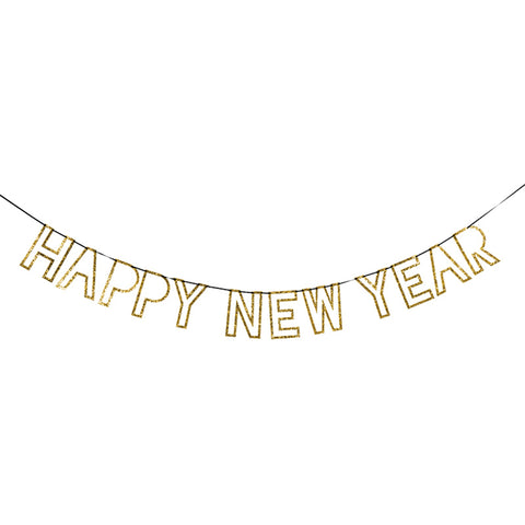 Gold Glitter Happy New Year Garland