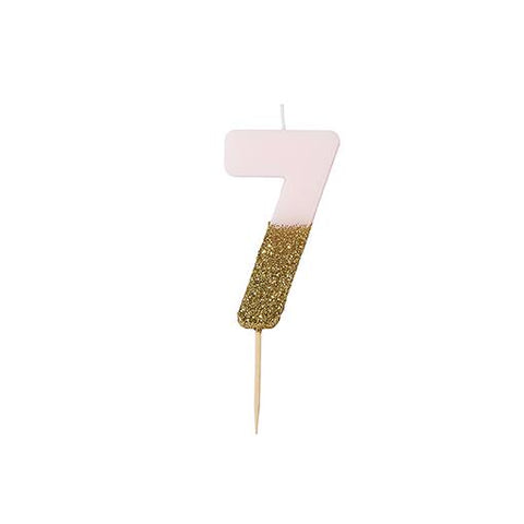 Pink Glitter Dipped Candle - Number 7