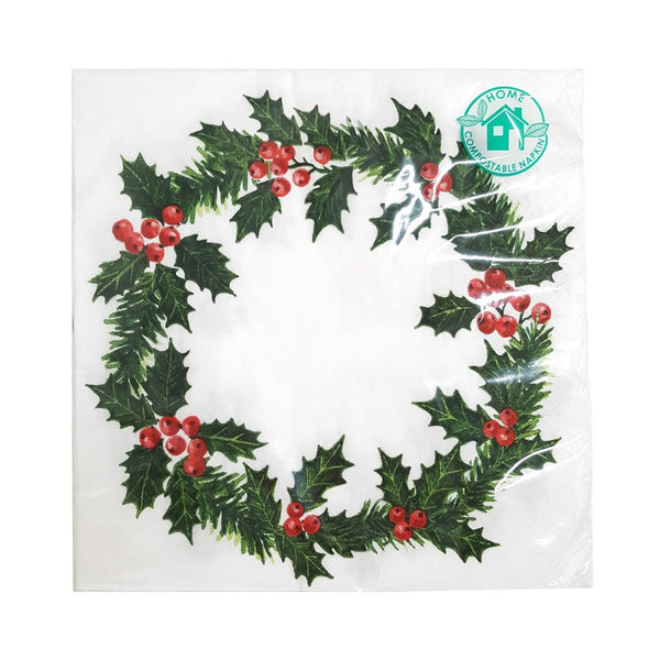 Holly Wreath Print Paper Napkins