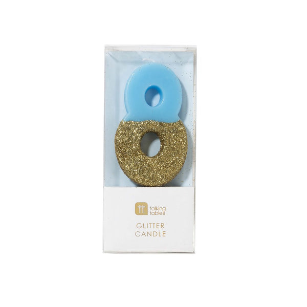 Blue Glitter Dipped Candle - Number 8