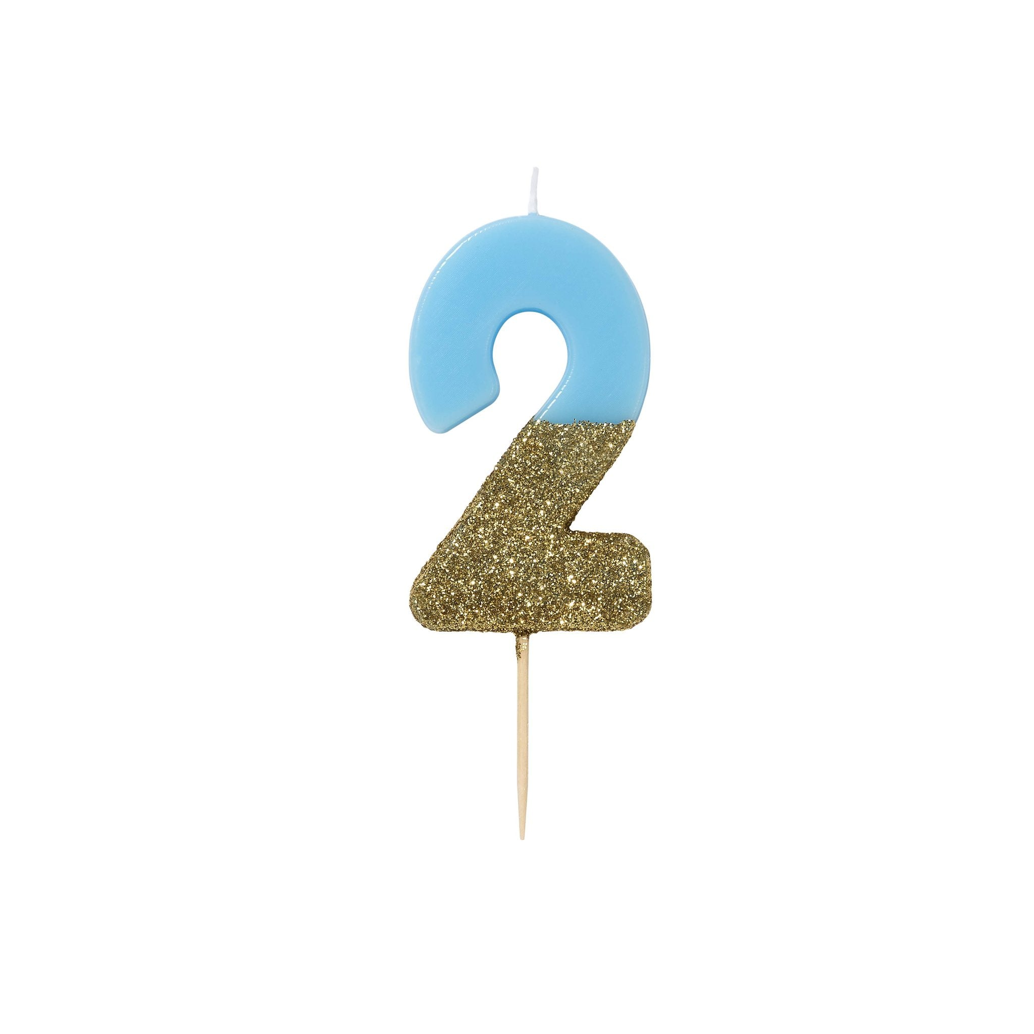 Blue Glitter Dipped Candle - Number 2