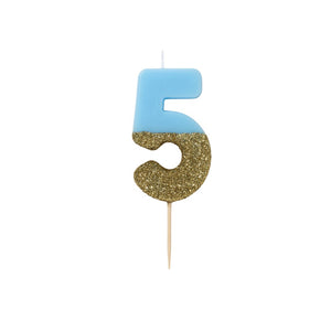 Blue Glitter Dipped Candle - Number 5