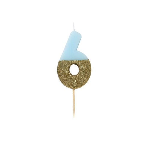 Blue Glitter Dipped Candle - Number 6