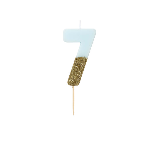Blue Glitter Dipped Candle - Number 7