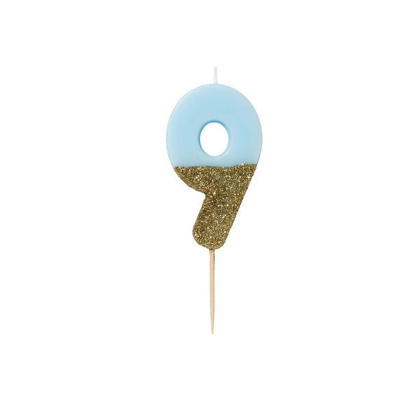 Blue Glitter Dipped Candle - Number 9