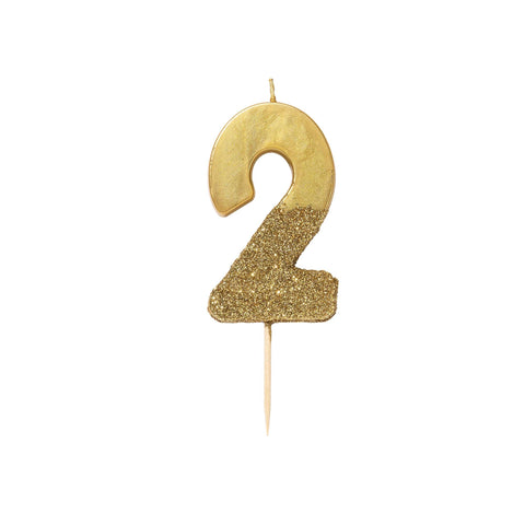 Gold Glitter Dipped Candle - Number 2