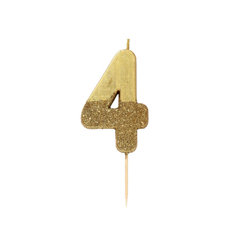 Gold Glitter Dipped Candle - Number 4
