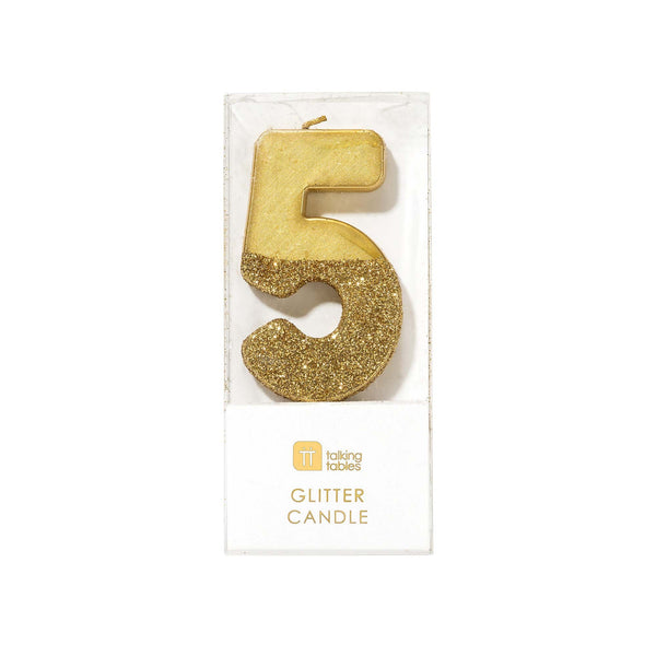 Gold Glitter Dipped Candle - Number 5