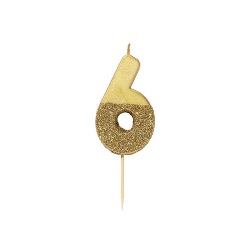 Gold Glitter Dipped Candle - Number 6