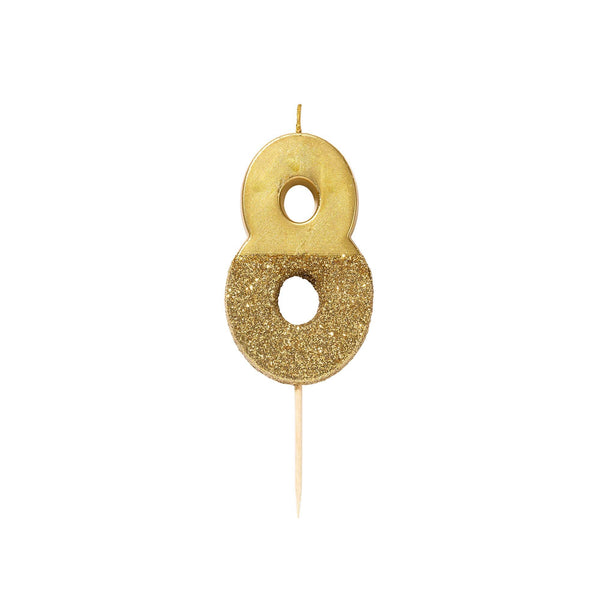 Gold Glitter Dipped Candle - Number 8