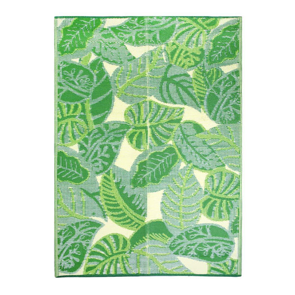 Tropical Green Palm Leaf Outdoor Rug
