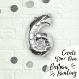 Silver Foil Number 6 Balloon